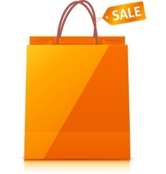 Orange shopping bag isolated on white background vector image vector image