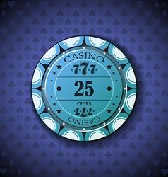 Poker chip nominal twenty five on card symbol vector image vector image