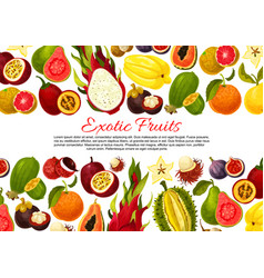 poster of tropical exotic fruits harvest vector image vector image
