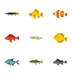 River fish icons set flat style vector