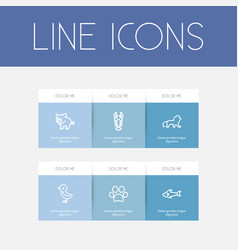 Set of 6 editable animal outline icons includes vector