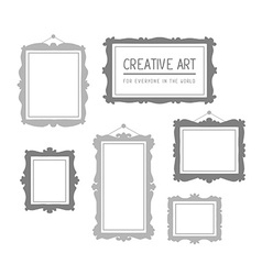Set of gray rectangular frames isolated o vector