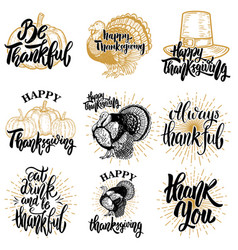 Set of happy thanksgiving badges turkey pumpkin vector