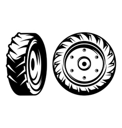 Set of monochromatic tractor wheels vector