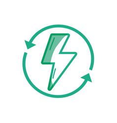 Silhouette energy hazard symbol with arrows around vector