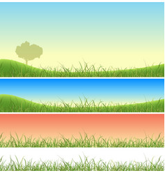 Spring green grass landscape set vector