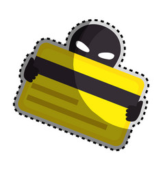 Sticker color silhouette with hacker stealing vector