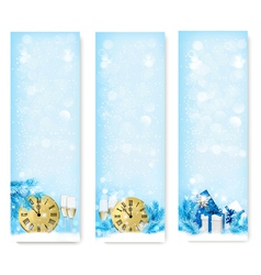 Three Christmas banners with gift boxes and vector image