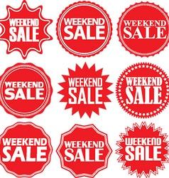 Weekend sale red label weekend sale red sign vector