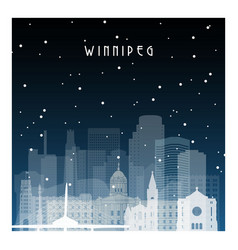 winter night in winnipeg night city in flat style vector image