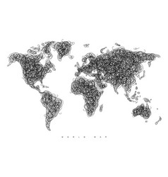 World map tangle lines vector