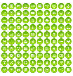 100 it business icons set green circle vector