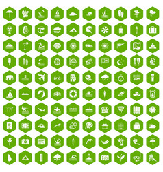 100 surfing icons hexagon green vector
