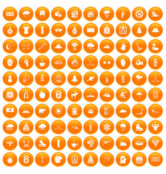 100 winter sport icons set orange vector