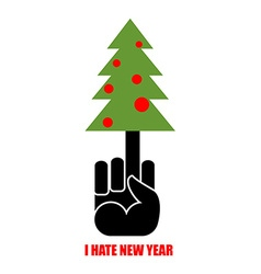 Fuck and christmas tree i hate new year christmas vector
