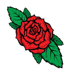 old school tattoo style roses isolated on white vector image