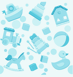 blue seamless pattern with baby toys vector image