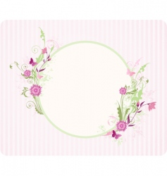 Round banner with floral ornament vector