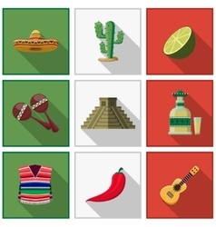 Mexico icons set mexican symbols vector