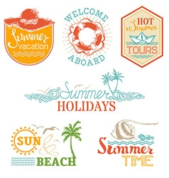 Set of summer and vacation labels and emblems vector