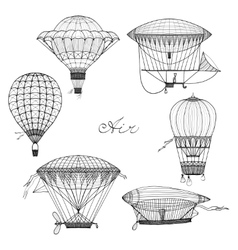 Balloon and airship doodle set vector