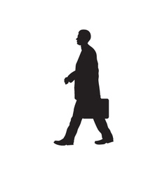 Black silhouette of the person with a briefcase vector