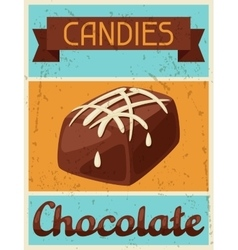 Poster with chocolate candy in retro style vector