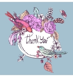 Thank you hand drawn greeting card vector