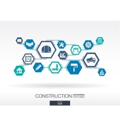 Construction network hexagon abstract background vector