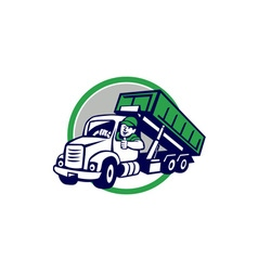 Roll-off bin truck driver thumbs up circle cartoon vector