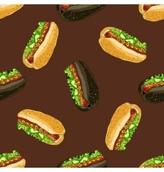 Seamless pattern of two types hot dogs vector