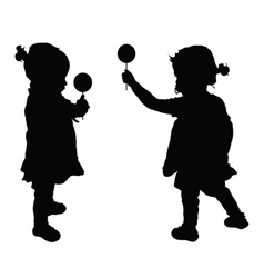Child with lollipop silhouette vector