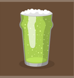 Alcohol green beer transparent glass vector