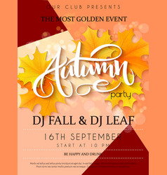 Autumn party poster with lettering yellow vector