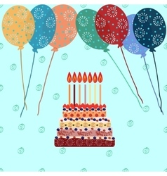 Birthday cake with seven candles Seven years vector image