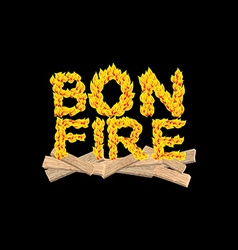 Bonfire typography Fire letters Burning Boards vector image