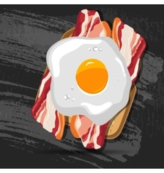 Breakfast bread toast with fried egg and vector