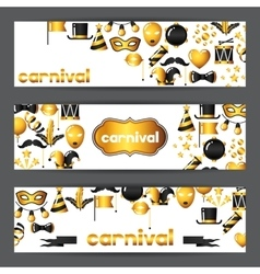 Carnival banners with gold icons and objects vector image vector image