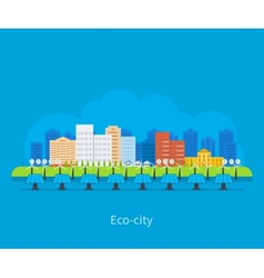 City landscape Environmentally friendly house vector image