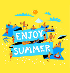 Enjoy summer lettering summer beach banner with vector