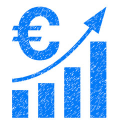 Euro bar chart trend grunge icon vector