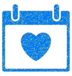 Favourite heart calendar day grainy texture icon vector