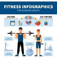 Fitness infographics with sport clubs statistics vector