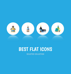 Flat icon church set of christian church vector