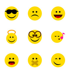 Flat icon emoji set of angel happy wonder and vector