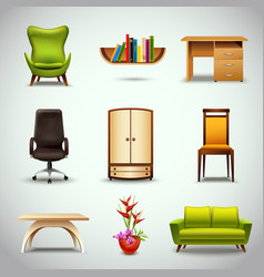 Furniture Realistic Icons vector image