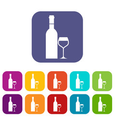 Glass and bottle of wine icons set vector