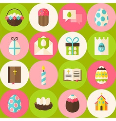 Green Happy Easter Seamless Pattern with Circles vector image vector image