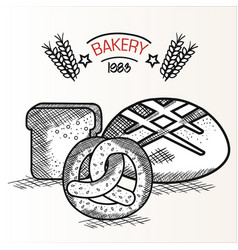Hand drawn bakery goods design vector
