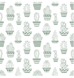 Hand drawn sketch pattern cactus vector